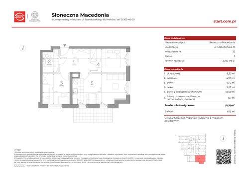 Plan Grupa Deweloperska START mieszkanie w inwestycji ul. Macedońska 15 Słoneczna Macedonia