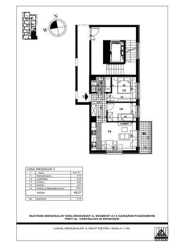 Plan Proins mieszkanie w inwestycji ul. Centralna Centralna - etap I, bud. A1, A2, A3