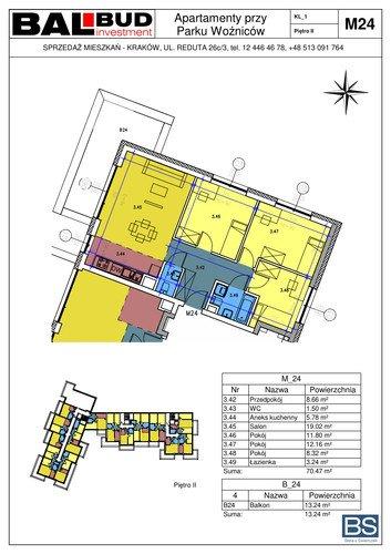 Plan BAL-BUD Investment Reduta Sp. z o.o. Sp. komandytowa mieszkanie w inwestycji ul. Woźniców Apartamenty przy Parku Woźniców