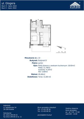 Plan Dom-Bud M. Szaflarski Spółka Jawna mieszkanie w inwestycji ul. Glogera  ul. Glogera, bud. D