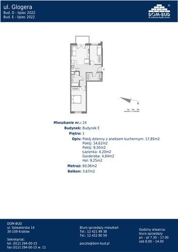 Plan Dom-Bud M. Szaflarski Spółka Jawna mieszkanie w inwestycji ul. Glogera  ul. Glogera, bud. E