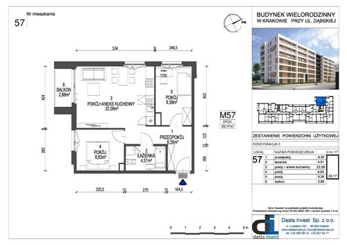 Plan Dasta Invest Sp. z o.o. mieszkanie w inwestycji ul. Dąbska Dąbska - etap III bud. A i B