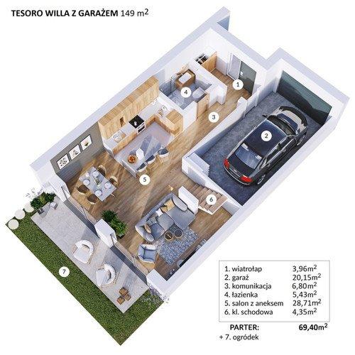 Plan Techniq dom w inwestycji ul. Totus Tuus Tesoro Verde Residence - wille