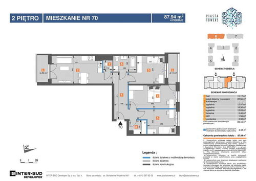 Plan Inter-Bud Developer Sp. z o.o. Sp. k. mieszkanie w inwestycji os. Bohaterów Września Piasta Towers - bud. 6
