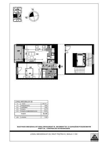 Plan Proins mieszkanie w inwestycji ul. Centralna Centralna - etap I, bud. B1, B2, B3